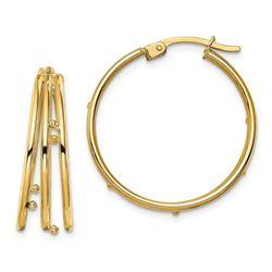 14k Yellow Gold Triple Hoop Earrings