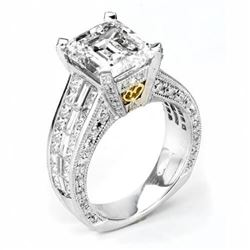 Natural 7.92 CTW Emerald Cut Diamond Engagement Ring 14KT Two- tone