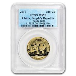 2010 China 1/2 oz Gold Panda MS-70 PCGS