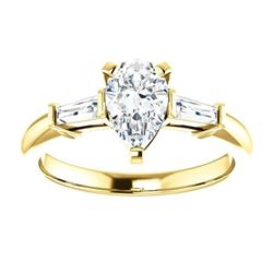 Natural 1.22 CTW Pear Cut & Baguette Cut 3-Stone Diamond Ring 18KT Yellow Gold