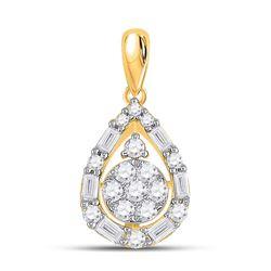 14kt Yellow Gold Womens Round Diamond Teardrop Cluster Pendant 1/2 Cttw