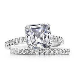 Natural 2.27 CTW Asscher Cut Diamond Engagement Bridal Set 18KT White Gold