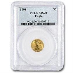 1998 1/10 oz Gold American Eagle MS-70 PCGS