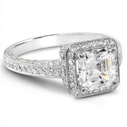 Natural 2.04 CTW Asscher & Round Cut Diamond Engagement Ring 18KT White Gold