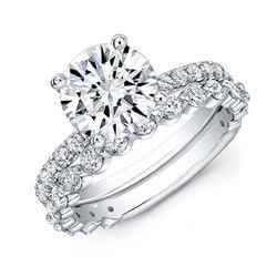 Natural 3.22 CTW Round Cut Diamond Ring 14KT White Gold