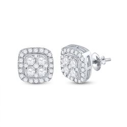 14kt White Gold Womens Round Diamond Square Earrings 3/4 Cttw