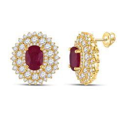 14kt Yellow Gold Womens Oval Ruby Diamond Fashion Earrings 5-3/8 Cttw