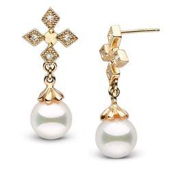 White Akoya Pearl and Diamond Cross Earrings