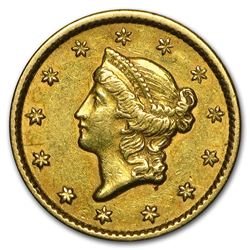 1849 $1 Liberty Head Gold Closed Wreath XF