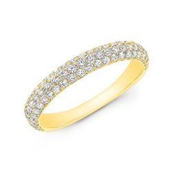 Natural 0.82 CTW 3 Rows Round Cut Micro Pave Diamond Wedding Band Ring 14KT Yellow Gold