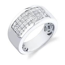 Natural 2.52 CTW Mens Diamond Ring 18KT White Gold