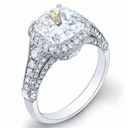 Natural 3.12 CTW Pave Halo Cushion Cut Diamond Engagement Ring 18KT White Gold
