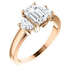 Natural 2.62 CTW Emerald Cut & Half Moons 3-Stone Diamond Ring 14KT Rose Gold