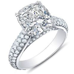 Natural 3.02 CTW Cushion Cut Micro Pave Diamond Engagement Ring 18KT White Gold