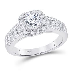 14kt White Gold Round Diamond Solitaire Bridal Wedding Engagement Ring 1-1/4 Cttw