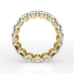 Natural 8.02 CTW Emerald Cut U-Setting Diamond Eternity Ring 14KT Yellow Gold