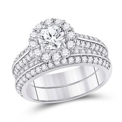 14kt White Gold Round Diamond Halo Bridal Wedding Ring Band Set 1-7/8 Cttw