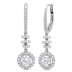 Natural 1.36 CTW Dangling U-Pave Lever Back Halo Round Cut Diamond Earrings 14KT White Gold
