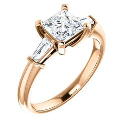 Natural 1.02 CTW Princess Cut & Baguettes 3-Stone Diamond Ring 14KT Rose Gold