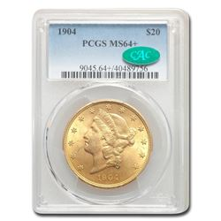 1904 $20 Liberty Gold Double Eagle MS-64+ PCGS CAC