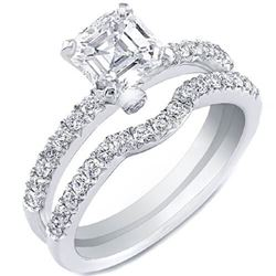 Natural 2.52 CTW Asscher Cut pave Sides Diamond Ring 18KT White Gold