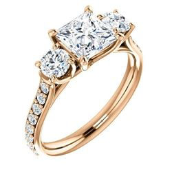 Natural 1.52 CTW 3-Stone princess Cut & Rounds Diamond Ring 18KT Rose Gold