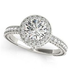 Natural 1.51 ctw Diamond Solitaire Halo Ring 14k White Gold