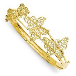 14K Butterfly Bangle Bracelet