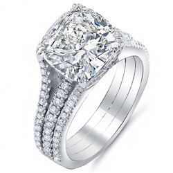 Natural 3.12 CTW Riviera Cushion Cut Diamond Engagement Ring 18KT White Gold