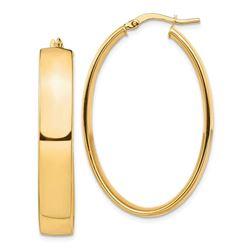 14k Yellow Gold Oval Hoop Earrings - 7x25 mm