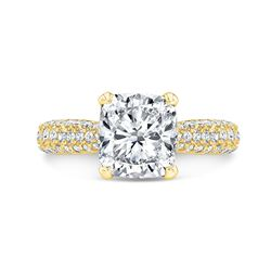 Natural 3.02 CTW Cushion Cut Micro Pave Diamond Engagement Ring 14KT Yellow Gold