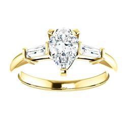 Natural 1.22 CTW Pear Cut & Baguette Cut 3-Stone Diamond Ring 14KT Yellow Gold