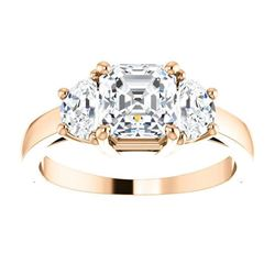 Natural 2.12 CTW Asscher Cut with Half Moons 3-Stone Diamond Ring 14KT Rose Gold