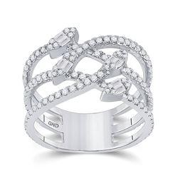 14kt White Gold Womens Baguette Diamond Crossover Strand Band Ring 3/4 Cttw