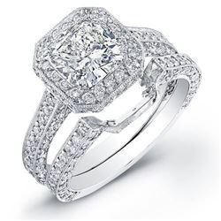 Natural 4.37 CTW Halo Cushion Cut Diamond Engagement Set 18KT White Gold
