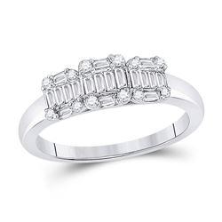 14kt White Gold Womens Baguette Diamond Cluster 3-stone Ring 1/2 Cttw