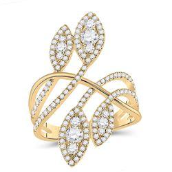 14kt Yellow Gold Womens Round Diamond Statement Fashion Ring 1-1/5 Cttw