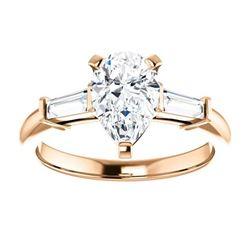 Natural 1.82 CTW Pear Cut & Baguette Cut 3-Stone Diamond Ring 18KT Rose Gold