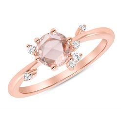 Natural 0.52 CTW Rose Cut Diamond Cluster Ring 14KT Rose Gold