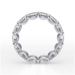 Natural 5.02 CTW Cushion Cut Diamond Eternity Ring 14KT White Gold