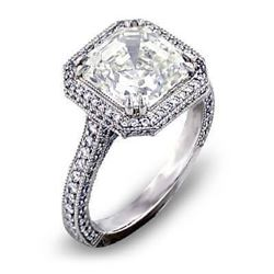 Natural 3.01 CTW Halo Asscher Cut Diamond Engagement Ring 18KT White Gold
