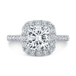 Natural 1.72 CTW Cushion Cut Halo Diamond Engagement Ring 18KT White Gold