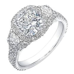 Natural 5.42 CTW Halo Cushion Cut & Trapezoids Diamond Engagement Ring 18KT White Gold