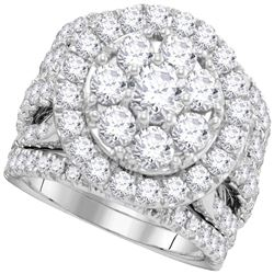 14kt White Gold Round Diamond Halo Cluster Bridal Wedding Ring Band Set 4 Cttw