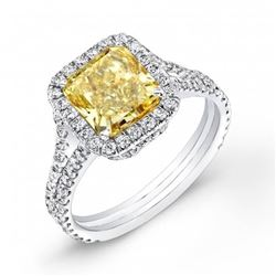 Natural 2.02 CTW Radiant Cut Canary Yellow Halo Diamond Engagement Ring 18KT White Gold