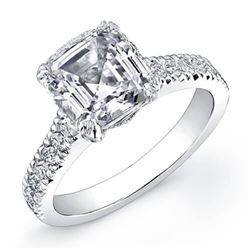 Natural 1.92 CTW Asscher Cut Diamond Engagement Ring 18KT White Gold