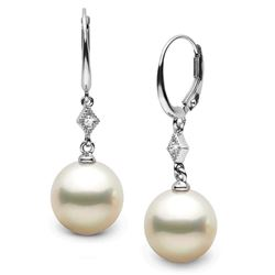 Elite Collection White Freshwater Pearl and Diamond Aerie Dangle Earrings