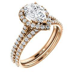 Natural 4.02 CTW Halo Teardrop Pear Cut Diamond Engagement Set 18KT Rose Gold