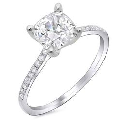 Natural 1.22 CTW Cushion Cut Diamond Dainty Solitaire Engagement Ring 14KT White Gold
