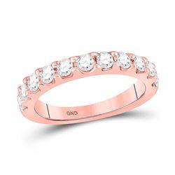 14kt Rose Gold Womens Round Diamond Wedding Single Row Band 7/8 Cttw